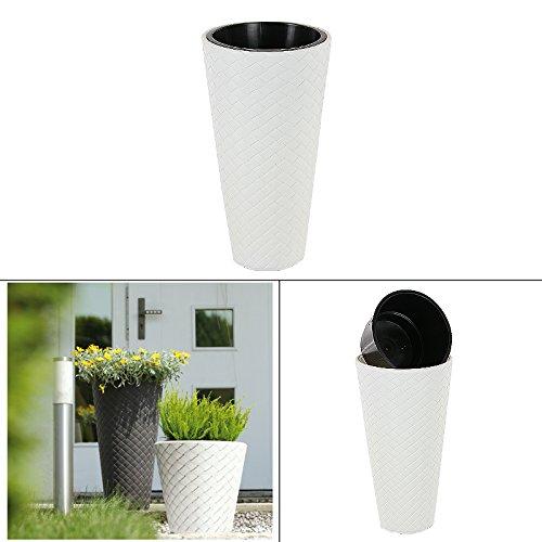 Fioriere Moderne Per Terrazzi.Vaso Alto Con Inserto Effetto Intrecciato 23l Bianco Vaso Vaso