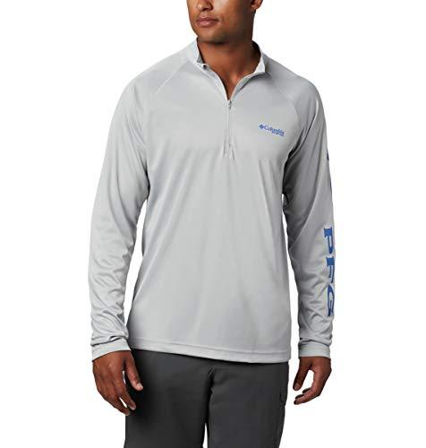 Columbia Men's PFG Terminal Tackle 1/4 Zip Pullover - Tall , Cool Grey, Vivid Blue Logo, 4X/Tall
