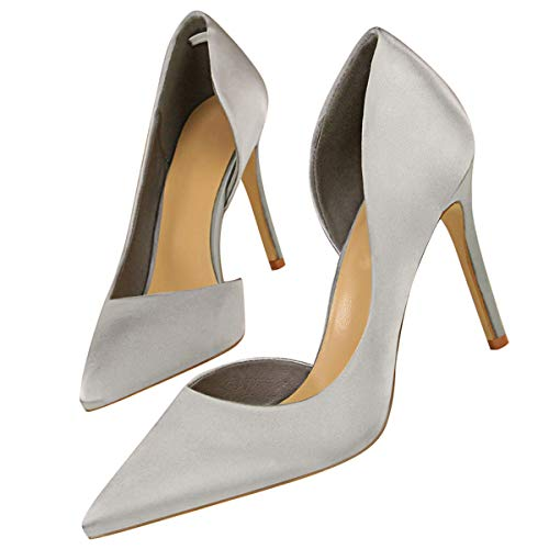 Pointu Stiletto Bout Shoes Party Femmes Wedding Satin Office Silver Sandales Chaussures Ladies OgWgHI