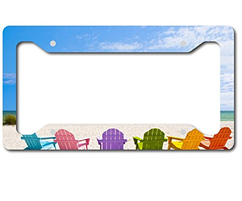 Colorful Chairs Beach Scene Aluminum License Plate Frame Sublimation Printed