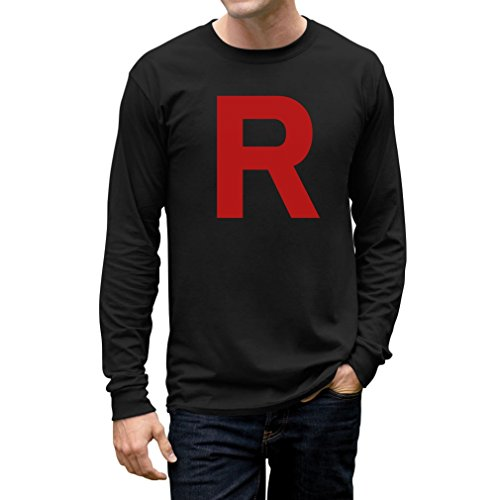 TeeStars Men's - Rocket Inspired Long Sleeve T-Shirt Medium Black ()