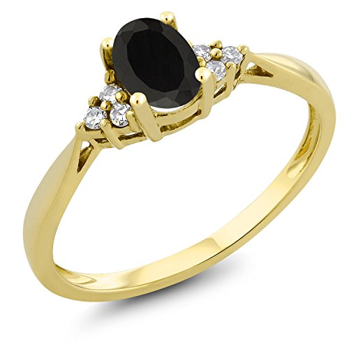 (Gem Stone King 0.39 Ct Oval Black Onyx and Diamond 14K Yellow Gold Ring (Size)