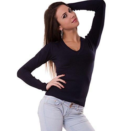 Toocool - Maglia maglioncino pullover bottoni maglione scollo a V donna nuovo 6777 Blu scuro