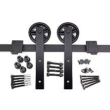 HK14 Sliding Barn Door Hardware Kit, Straight Hangers, Big Industrial Wheel, 6.6 ft Track, by Rusty Design