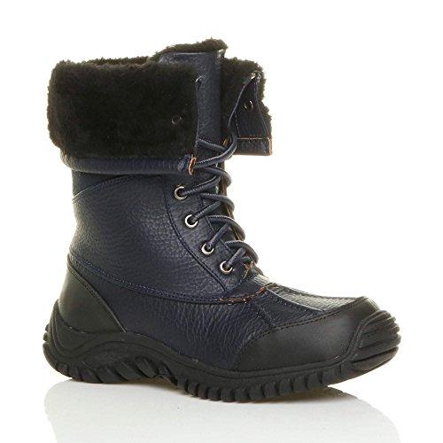 Ajvani Womens ladies low heel rubber sole flat winter snow winter lace up fur calf boots size Dark Navy Blue
