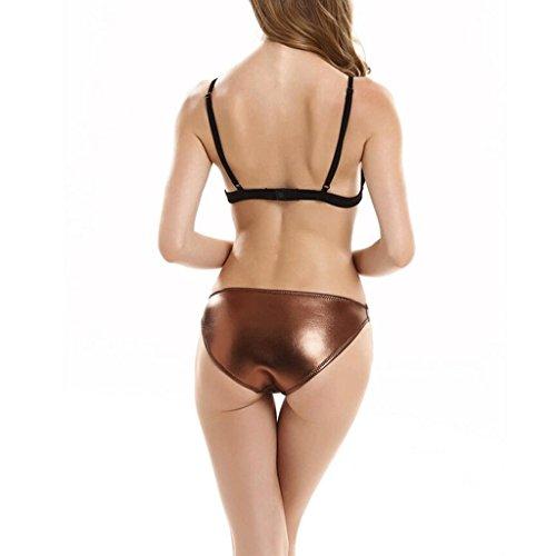 Traje de baño de moda malla de neopreno malla colores mezclados bikini siamés bikini partido spa traje de baño de playa Marrón