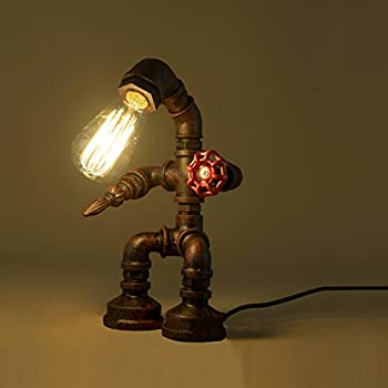 BAYCHEER HL409250 Industrial Retro Style Rust Iron Robot Plumbing Pipe Desk Table Lamp Light with Red Valve Handle and switch 1 light (US version)