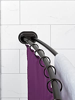 Zenna Home NeverRust Aluminum Double Curved Tension Shower Curtain Rod, 50 to 72-Inch