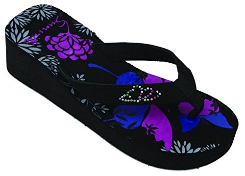 - L.A. Beauty Womens FLIP Flops Summer Flats Thong Studded Bling Platform Sandals Shoes (2338 Flower 9)