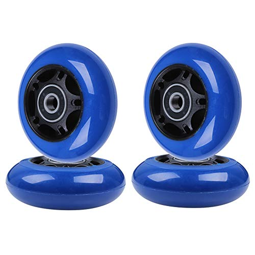 AOWISH 4-Pack Inline Skate Wheels 85A [Available in Sizes 64mm 70mm 72mm 76mm 80mm] Rollerblade Replacement Wheel with Bearings ABEC-9 (70 mm/Black Hub Navy Blue Wheel)