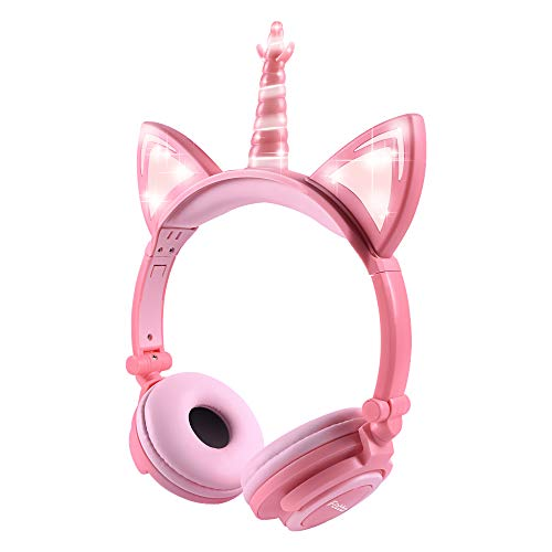 Kinder Kopfhörer, Ifecco Faltbare Kopfhörer mit LED Katzen Ohren Verkabelte Over Ear Headset Kopfhörer für iPod iPad iPhone Android Handy Tablet PC MP3 MP4 Playe (Pfirsich)