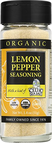 Gourmet Celtic Sea Salt Organic Lemon Pepper Seasoning Shaker - Delicious, Bold Lemon Pepper Sea Salt Adds Flavor to a Variety of Dishes, Hand Crafted and Organic, 2.2 Ounces