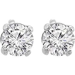 14K Gold Diamond Stud Earrings Round Brilliant Earth-mined (G,VS) Signature Rare Quality