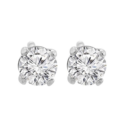 0.06 ct tw Small Four Prong Diamond Stud Earrings 14K White (0.06 Ct White Diamond)