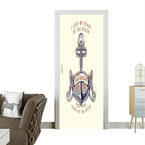 Door Sticker Wall Decals Sailor Spirit Sign Firmly Anchored The Ocean Tage Style Orange Blue Easy to Peel and StickW23 x H70 INCH ()