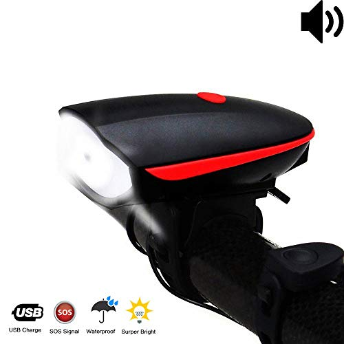 Fineed Bike Light Bicycle Horn USB Rechargeable, Super Bright Bicycle Headlight Waterproof,1200mAh Battery,3 Lighting Modes,5 Horn Sounds,120 Db, Fit All Bicycles, Road,Easy to Install &Release