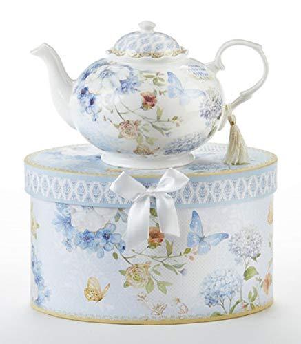 Delton Porcelain Blue Butterfly Tea Pot