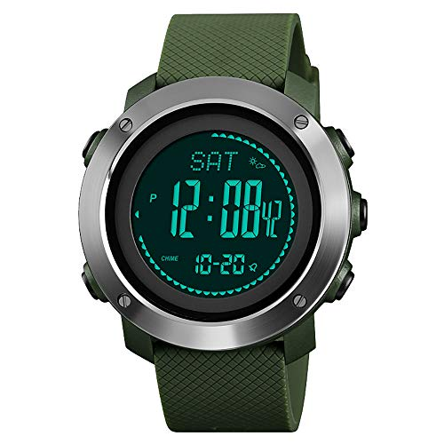 Pedometer Digital Watch, Men's Sports Watch with Compass Barometer Temperature Altimeter Countdown Timer Step Counter Stopwatch Water Resistance (Best Android Compass 2019)