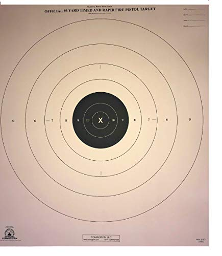 DOMAGRON 25 Yard Timed Slow and Rapid Fire Pistol Target Official NRA Target B-8 T (100 Pack)