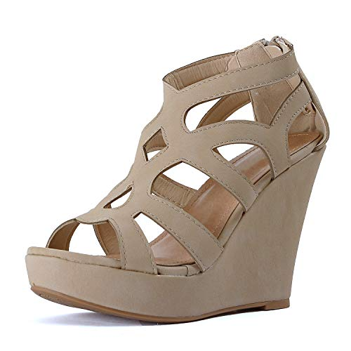 Guilty Heart Womens Gladiator Strappy Open Toe Platform Comfortable Wedge Sandals (6.5 M US, Beigev6 Pu) ()