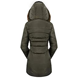 Valuker Women\'s Down Coat With Fur Hood 90D Parka Puffer Jacket 57-Green-S