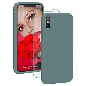 PROBIEN Coque pour iPhone X/XS, Silicone Liquide Coque Anti-Choc Housse de Couleur Protection Complète Cover Étui de…