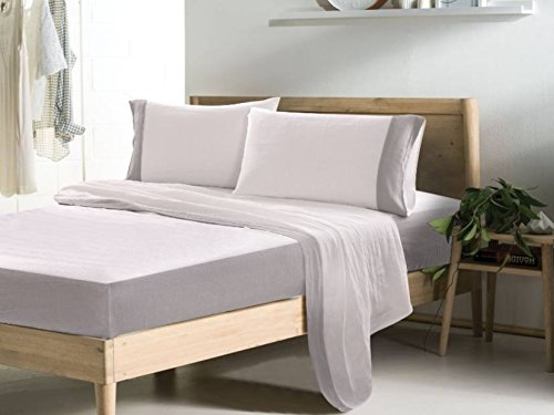 Chrome Natural Bed (Bi-Chrome Linen Sheets Set , White Bed Sheets with Stone Grey Border, Queen Bed Sheets, King Bed Sheets, California King Bedding, Twin Bed)