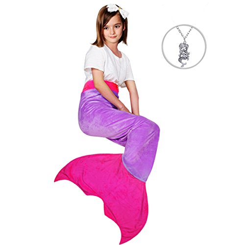 Age Bag - Maidream Mermaid Tail Blanket Upgraded Double-Layered Soft Cozy Fleece Warm Sleeping Bag with Necklace Gift for Kids and Teens(Ages 3-12) (Purple/Rose Red)