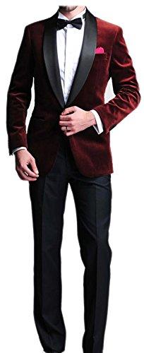 Burgundy Velvet Blazer Man Suit Slim Fit Satin Lapel Groom Tuxedos Mens Wedding Prom Party (Satin Velvet Blazer)