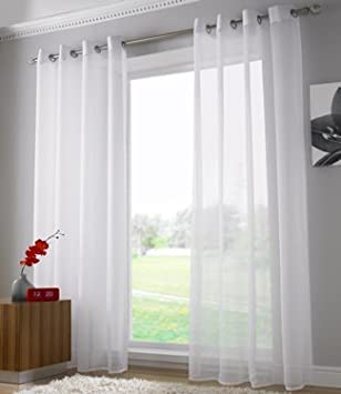 Voile Ring Top Eyelet Curtain Panel White 108