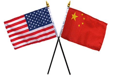 ALBATROS USA American with China Chinese Flags 4 inch x 6 inch Desk Stick Table (NO Base) for Home and Parades, Official Party, All Weather Indoors -
