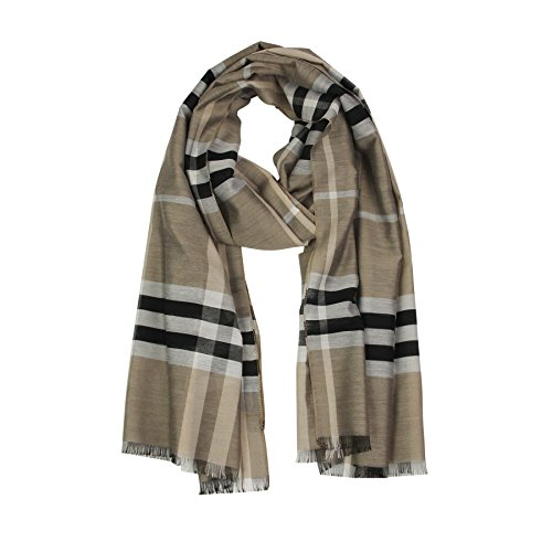 Long Check/Plaid Scarf Fashion Lightweight 74.827.5 Silky Smooth 100% Polyester (KHAKI 1)