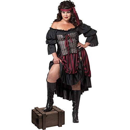 California Costumes Women's Plus-Size Pirate Wench Plus, Black/Burgundy, 3X ()