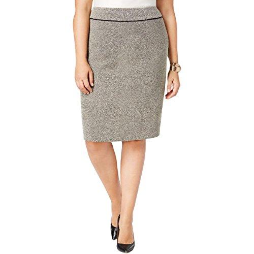 Black Tweed Skirt (Kasper Womens Plus Tweed Work Pencil Skirt Black-Ivory 16W)