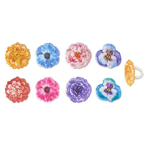 Cupcake Decorating Rings - Garden Flower Cupcake Rings - 24 ct