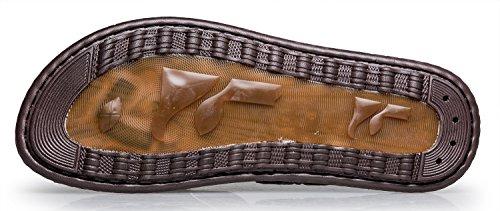 Norocos Mens Klassisk Bekväm Flip Flops Gummi Tofflor Tillfälliga Lädersandals .black
