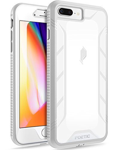 iPhone 7 Plus/iPhone 8 Plus Case, Poetic Revolution [360 Degree Protection] Full-Body Rugged Heavy Duty Case w/Built-in-Screen Protector for Apple iPhone 7 Plus/iPhone 8 Plus White/Gray