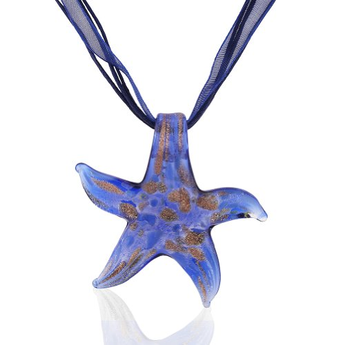 Fair Trade Glass (Starfish Project, Blue Lampwork Glass Signature Starfish Pendant Necklace, Adjustable 17-19 Inches)
