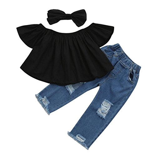 3pcs Baby Girls Kids Off Shoulder Lotus Leaf Top Holes Denim Jeans Headband Outfits Set (Black, 4-5 Years)
