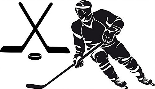 Hockey Silhouette - Large Silhouette Vinyl Hockey Wall Decal (Player and Sticks) (Black)