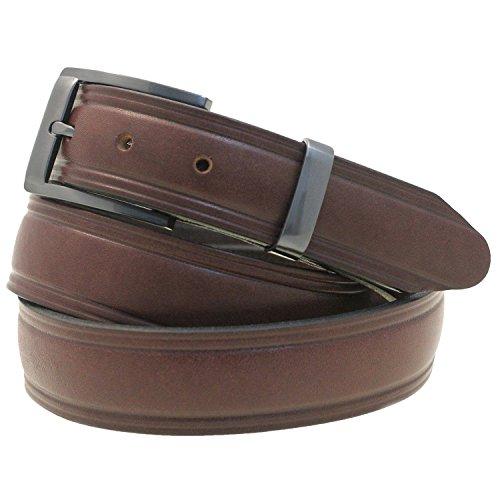 Men 1 1/4 Domed Dress Belt Dark Brown Bridle Leather Buckle And Loop Set Size 32 (Dark Brown Leather Buckle)