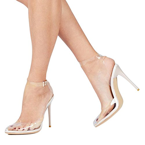 UMEXI Women's Strappy Lucite Clear Stiletto High Pointy Toe Slingback Sandal Shoe Pumps White Size 7