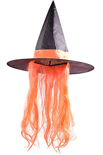 ORSKY Women Cosplay Witch Hats with Wig Halloween Orange by ORSKY