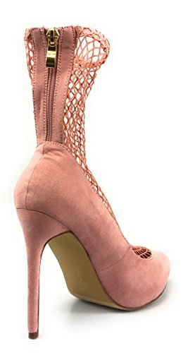Liliana Suede Netted Mesh Inset Pointy Toe Bootie Pump Xaya-20 Dust-pink eLSTyYcB5m
