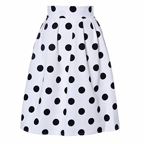 VEZAD Retro Puff Skirts Women Bodycon Polka Dot Umbrella (White Polka Dot Capri)