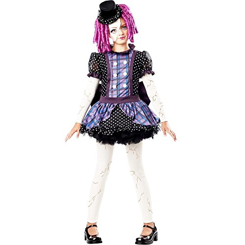 Creepy Doll Costumes For Kids (Broken Doll Child Costume, Multicolored, Medium (8-10))