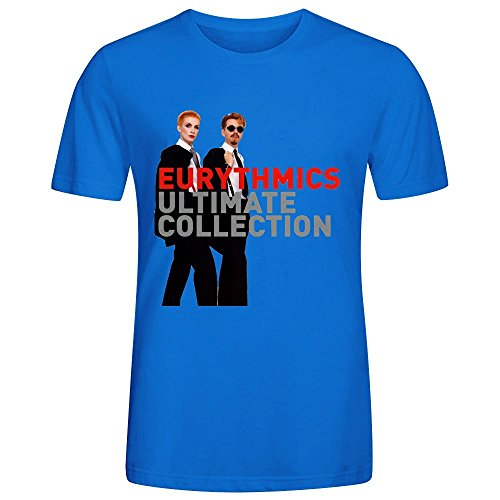 eurythmics-ultimate-collection-printed-t-shirts-for-men-crew-neck-blue