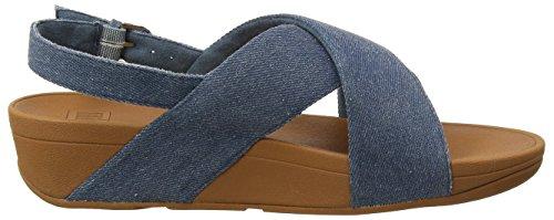 Punta Para strap Shimmer Lulu Sandalias 533 Azul Mujer Fitflop denim blue Con Shimmer Sandals Cross Abierta Back 1C68F
