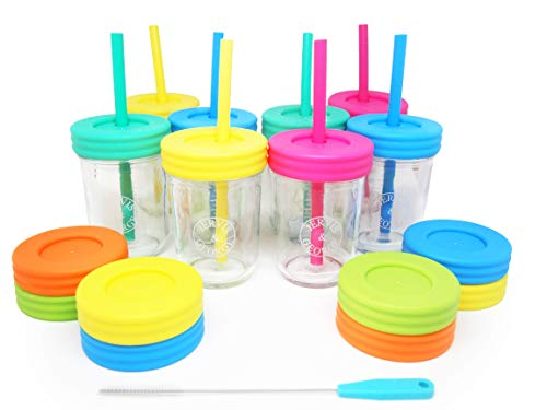 Kids 8oz Glass Mason Jar Drinking Cups with Straw Lids + Leak Proof Regular Lids + Silicone Straws + Cleaning Brush - No Rust, Less Spills for Toddlers & Kids + Food Storage (8 Pack) by Jervis & George