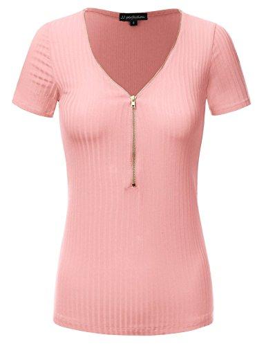 JJ Perfection Women's Solid Stretch Zipper Henley Neckline Shortsleeve Shirt Top BLUSH L